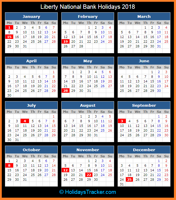 2018 Calendar with Holidays