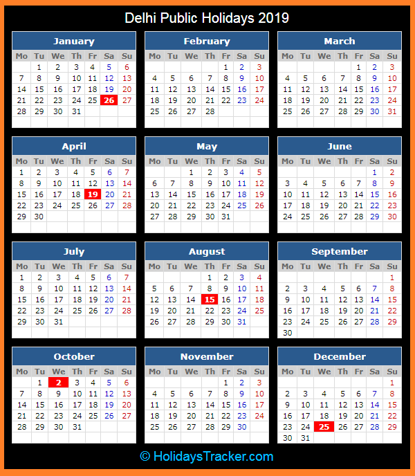 Delhi India Public Holidays 2019 Holidays Tracker