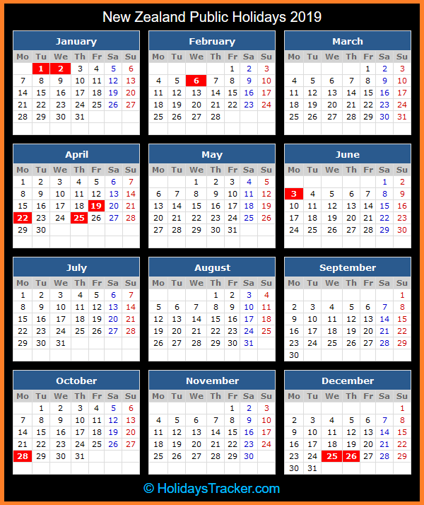 new zealand public holidays calendar 2019