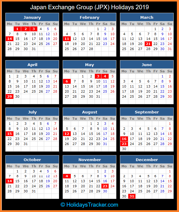 japan exchange group holidays calendar 2019