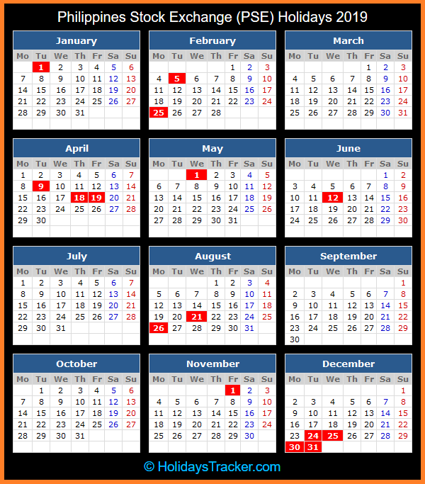 philippines stock exchange holidays calendar 2019