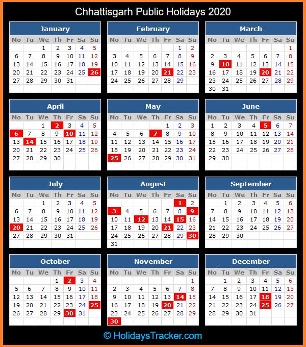 Chhattisgarh Public Holidays Calendar 2020