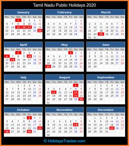 Tamil Nadu Bank Holidays Calendar 2020