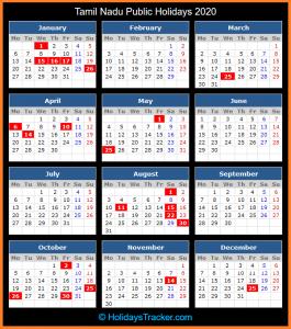 Tamil Nadu Public Holidays Calendar 2020