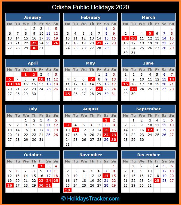 Odisha Public Holidays Calendar 2020