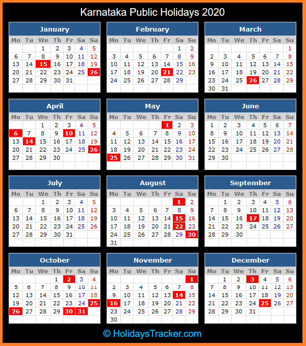 Karnataka Holidays Calendar 2020