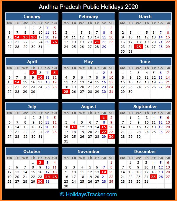 Andhra Pradesh Public Holidays 2020