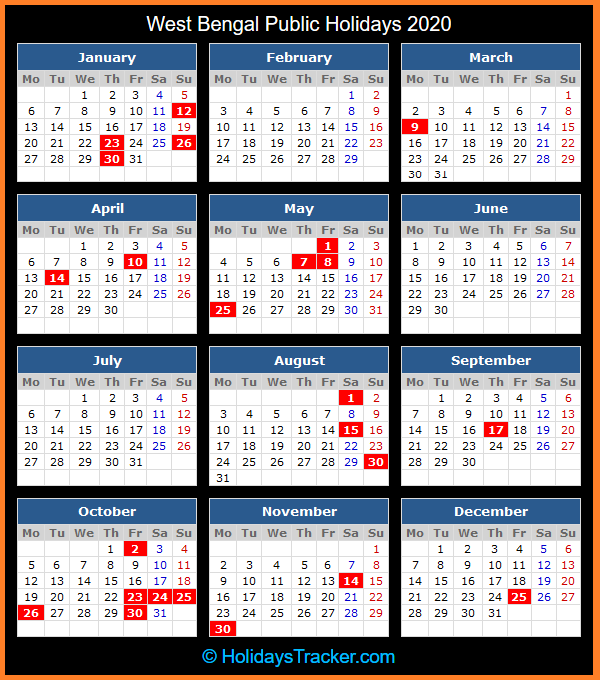 West Bengal (India) Public Holidays 2020