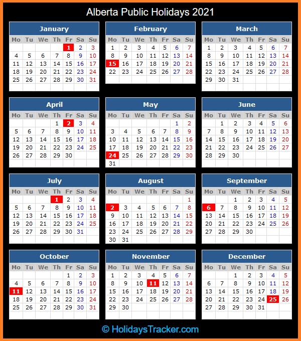 Alberta (Canada) Public Holidays 2021 - Holidays Tracker