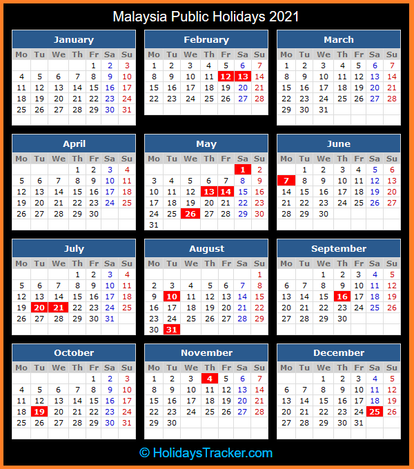 Malaysia Public Holidays 2021 - Holidays Tracker