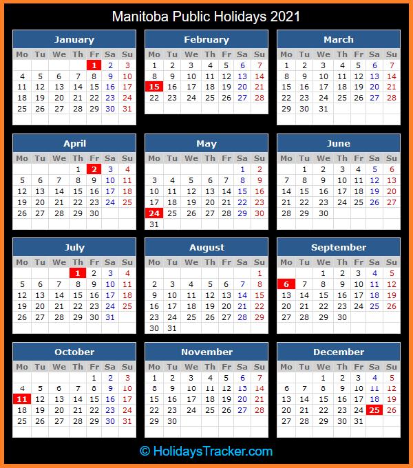 Manitoba Public Holiday Calendar 2021