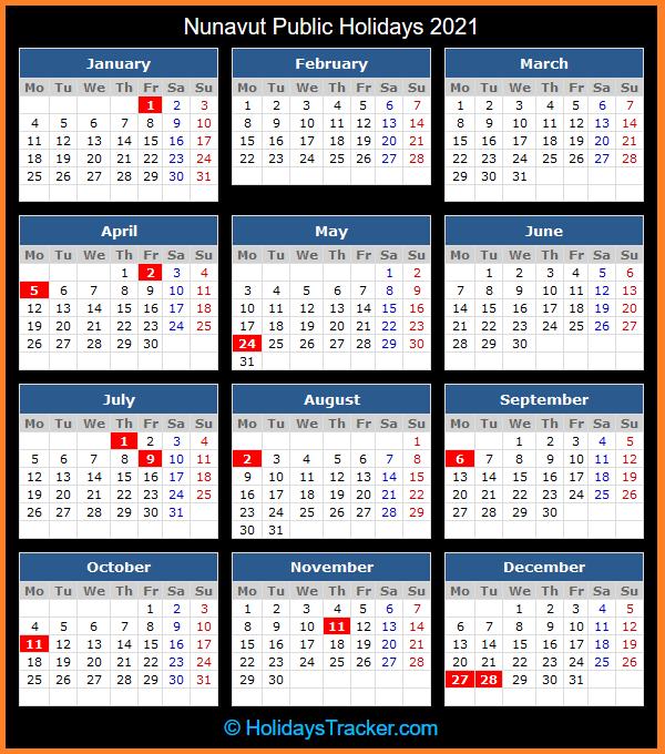 Nunavut (Canada) Public Holidays 2021 - Holidays Tracker