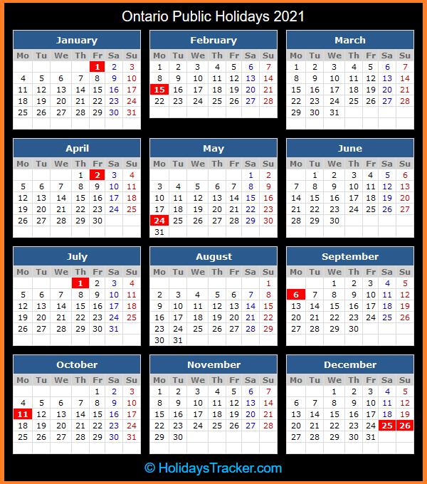 Ontario Public Holiday Calendar 2021
