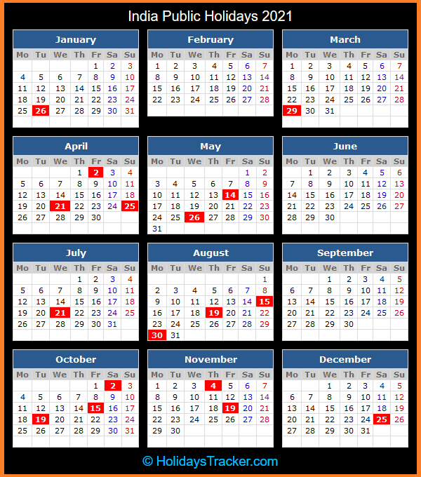 India Public Holiday Calendar 2021