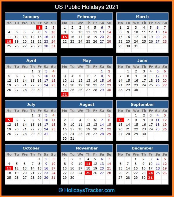 US Public Holidays 2021 - Holidays Tracker