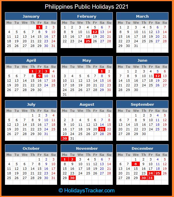 Philippines Public Holidays 2021 - Holidays Tracker