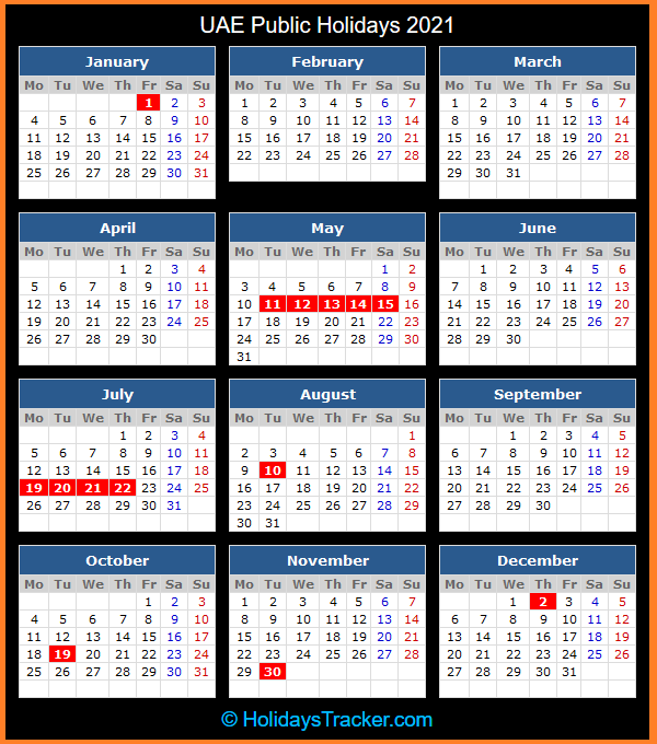 UAE Public Holidays 2021 - Holidays Tracker